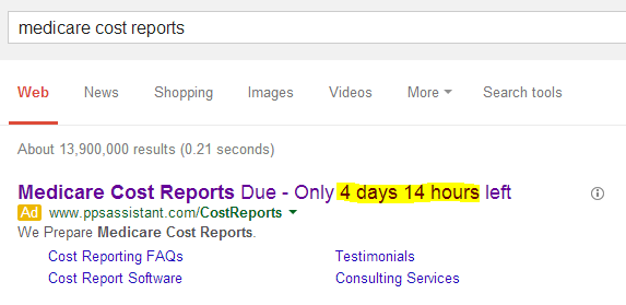 countdown timer Adwords search ad