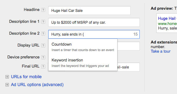 adwords optimization countdown timer
