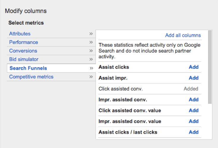 Google Adwords modify-columns