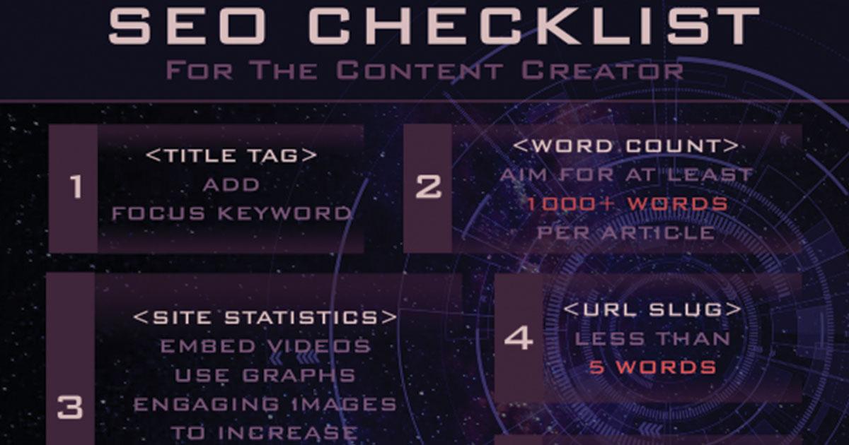 seo checklist for content creators 2018