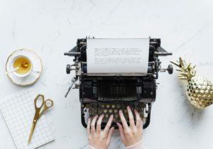 type writer and tea